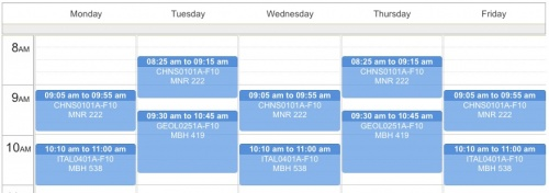 An example course schedule view.