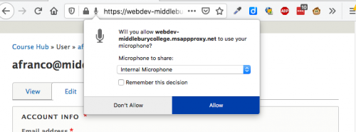 Screen shot of a browser's microphone access request.