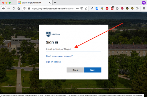 Screen shot of the login form asking for an email address.