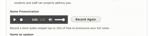 Screen shot of the CourseHub's name-pronunciation preview in the profile-edit form